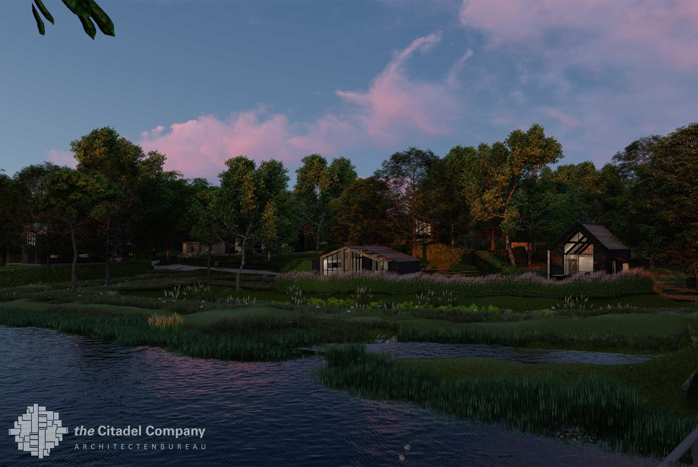 Beeldkwaliteit Park't Holt Dalfsen_Wateraanzicht avond