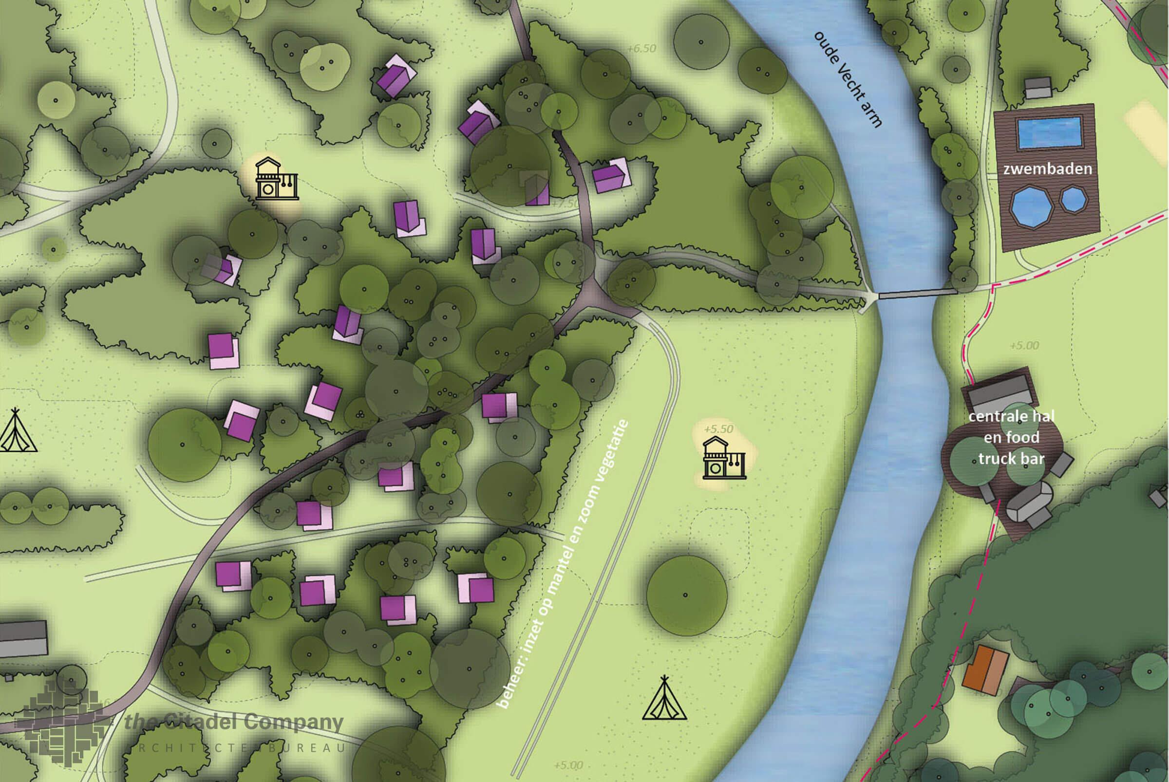Landschapsplan Camping de Roos Ommen_Detail