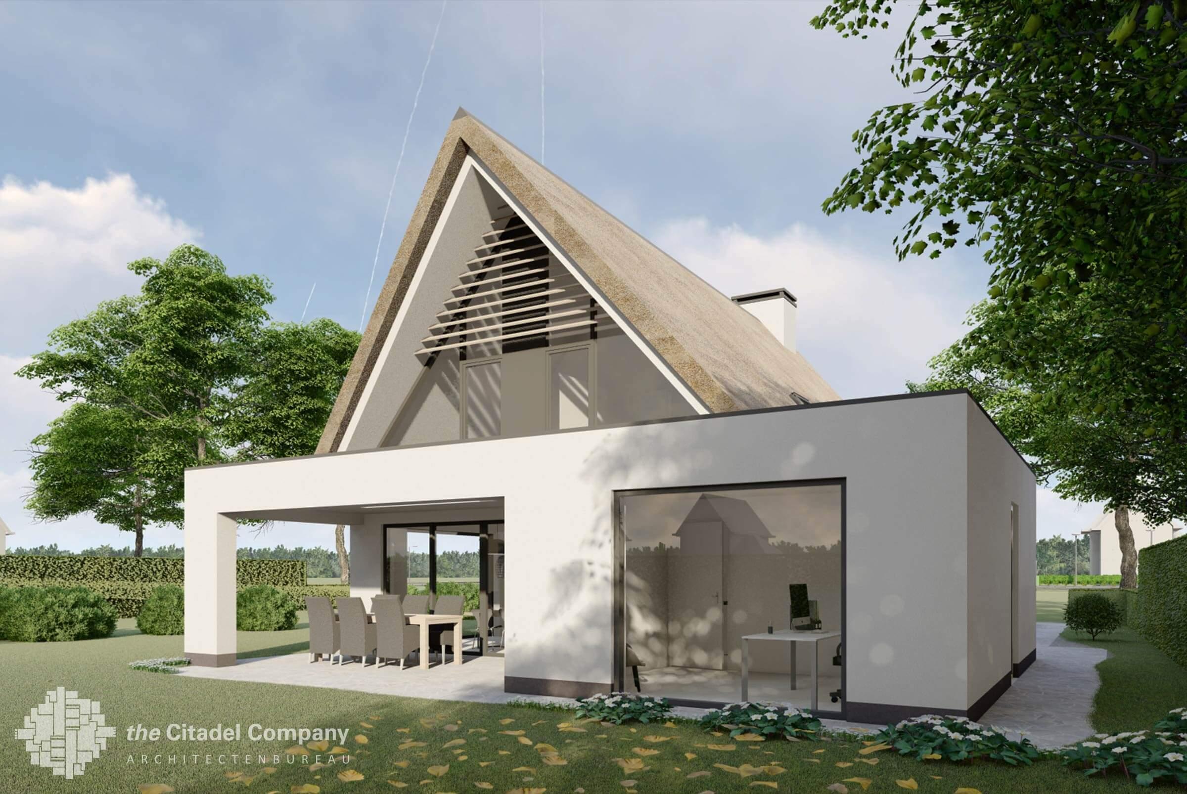 moderne strakke witte rietgedekte woning
