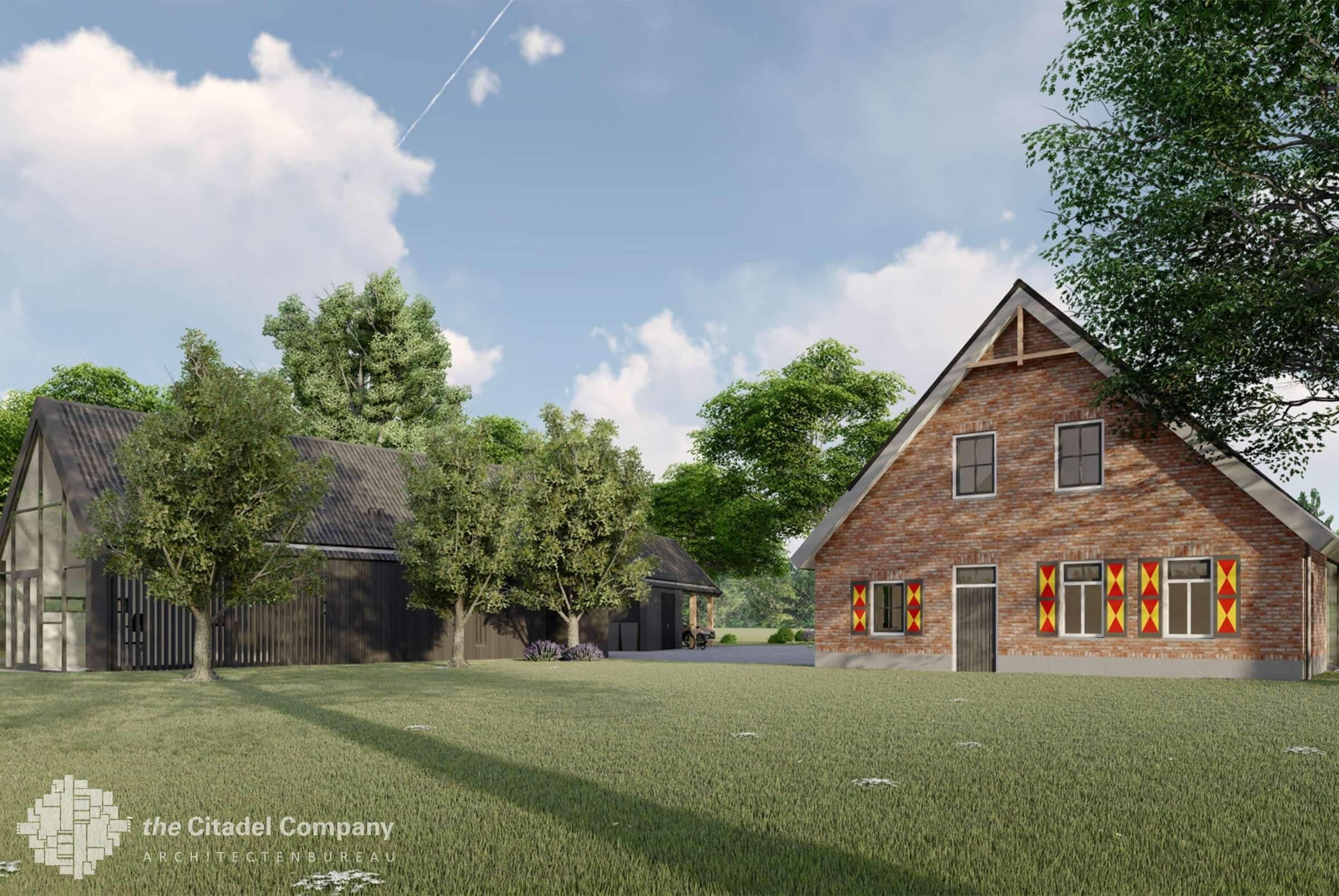 Modern landelijke boerderij villa met bijgebouwen