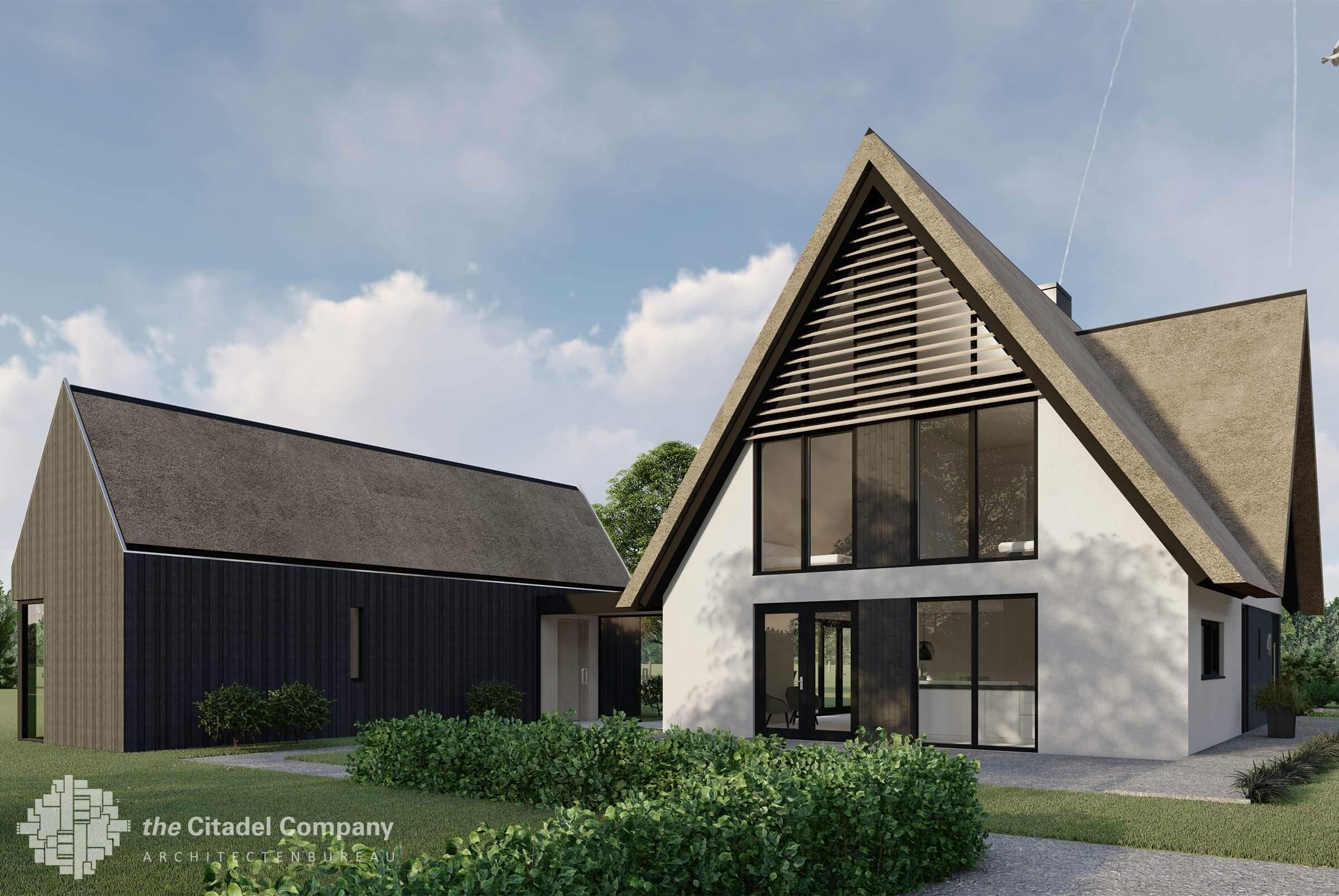 Moderne witte villa met bijgebouw Heino